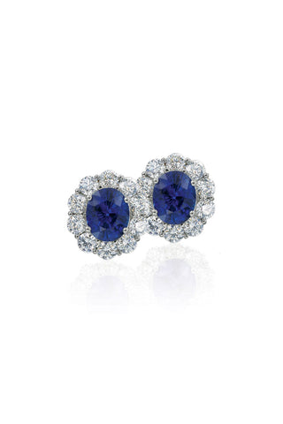 Boyds Essentials, 18kt White Gold Sapphire & Diamond Earrings