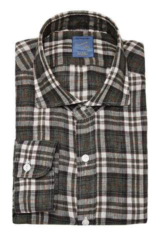 Barba, Plaid Linen Sportshirt