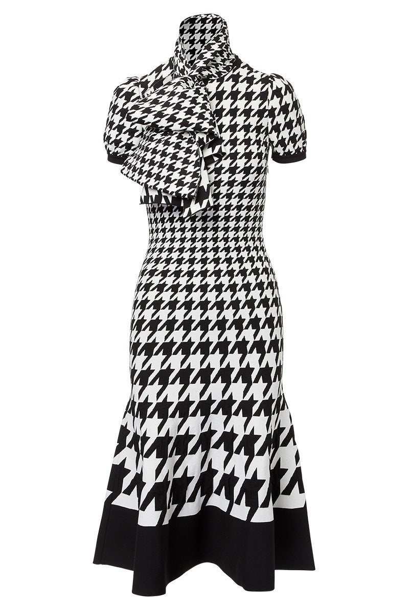 Alexander McQueen, Dogtooth Jacquard Knit Dress