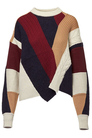 BASE MARK, Patchwork Cable Sweater