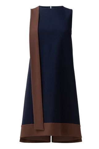 Contrast Crêpe Sheath Dress