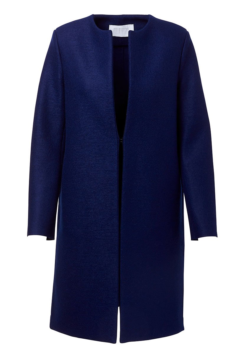 Pressed Wool Collarless Coat