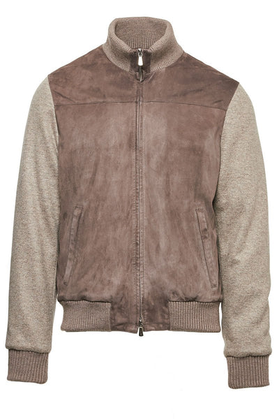Suede Knit Bomber Jacket