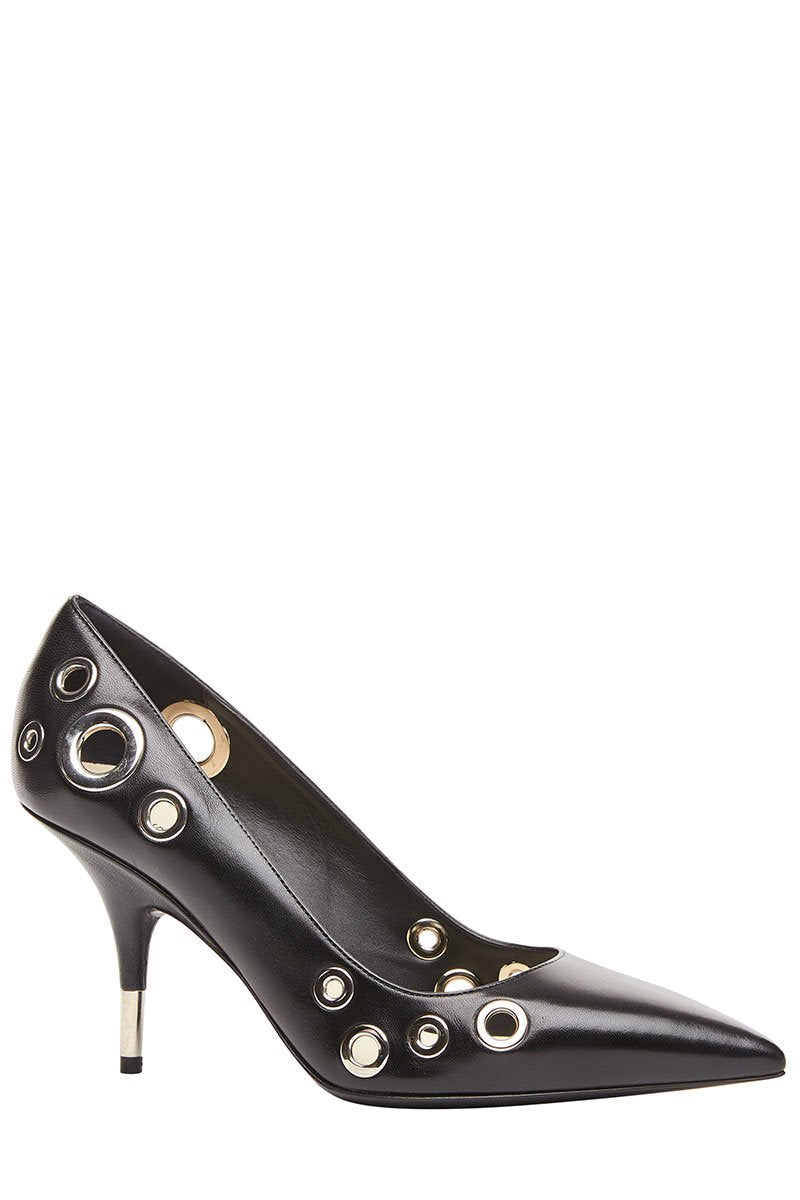 Grommet Leather Pumps