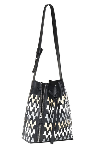 Leo Graphic Woven Bucket Bag