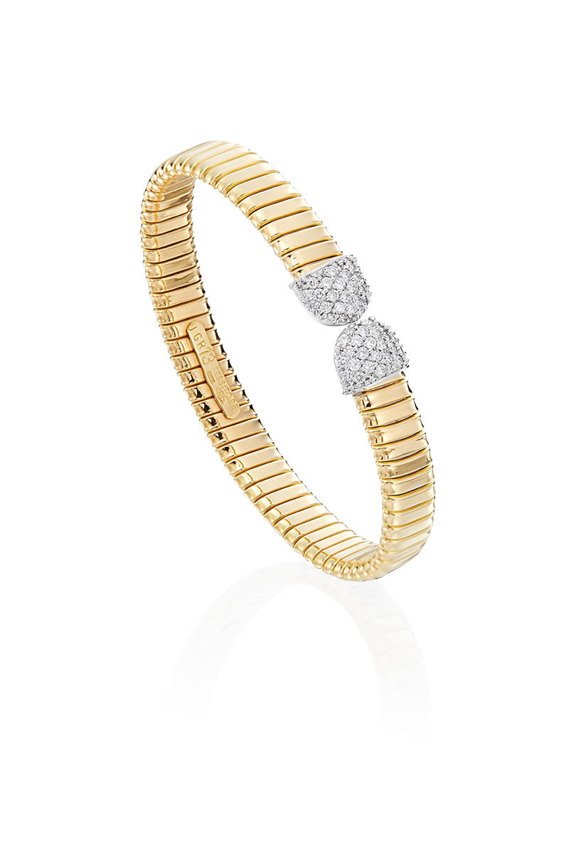 Boyds Essentials, 18kt Two-Tone Pave Diamond Bangle Bracelet