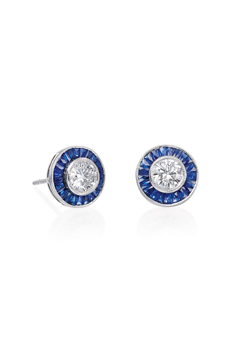 Boyds Essentials, 18kt White Gold Diamond & Sapphire Earrings