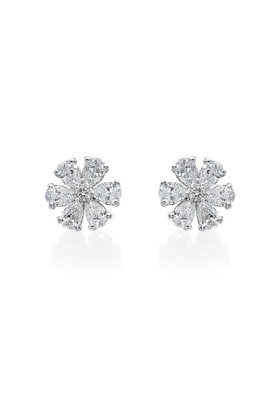 Boyds Essentials, 18kt White Gold Diamond Flower Earrings