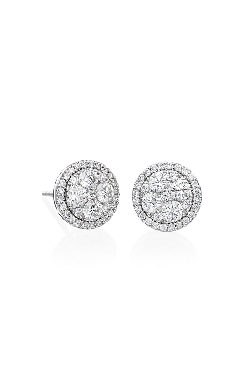 Boyds Essentials, 18kt White Gold Cluster Halo Diamond Earrings