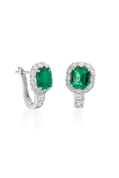 Boyds Essentials, 18kt White Gold Emerald & Diamond Earrings