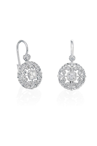 Boyds Essentials, 18kt White Gold Hanging Diamond Earrings