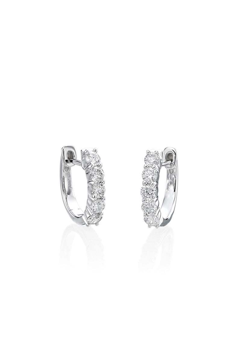 Boyds Essentials, 14kt White Gold 5-Stone Diamond Hoop Earrings
