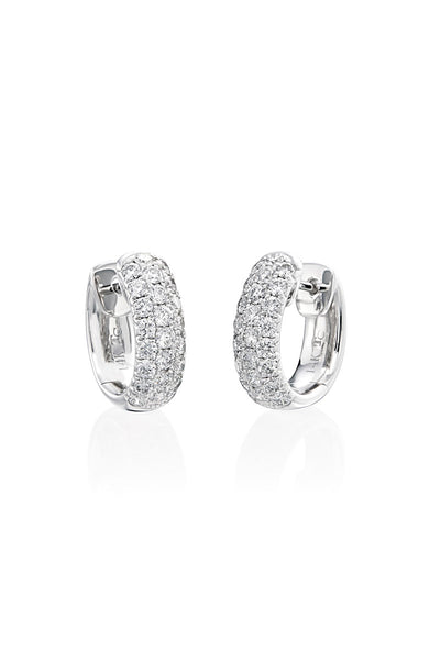 Boyds Essentials, 18kt White Gold Pave Diamond Huggie Earrings