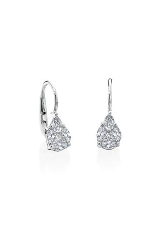 Boyds Essentials, 18kt White Gold Diamond Illusion Hanging Earrings