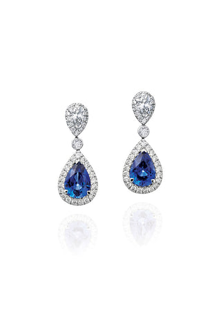 Boyds Essentials, 18kt White Gold Sapphire & Diamond Dangle Earrings