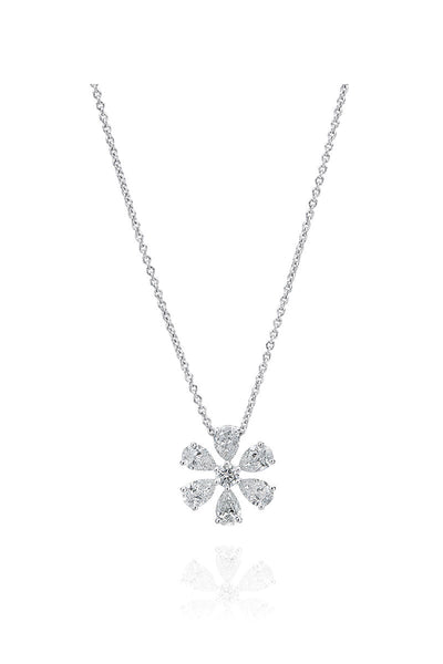 Boyds Essentials, 18kt White Gold Diamond Flower Pendant