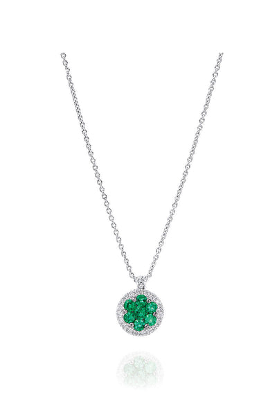 Boyds Essentials, 18kt White Gold Emerald & Diamond Pendant