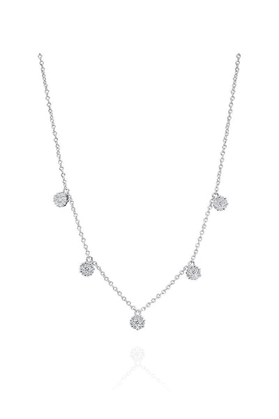 Boyds Essentials, 18kt White Gold Cluster Diamond Necklace