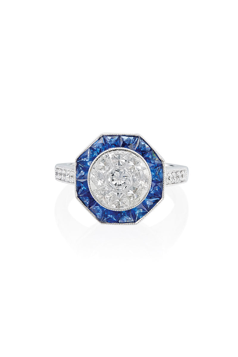 Boyds Essentials, 18kt White Gold Sapphire & Diamond Ring
