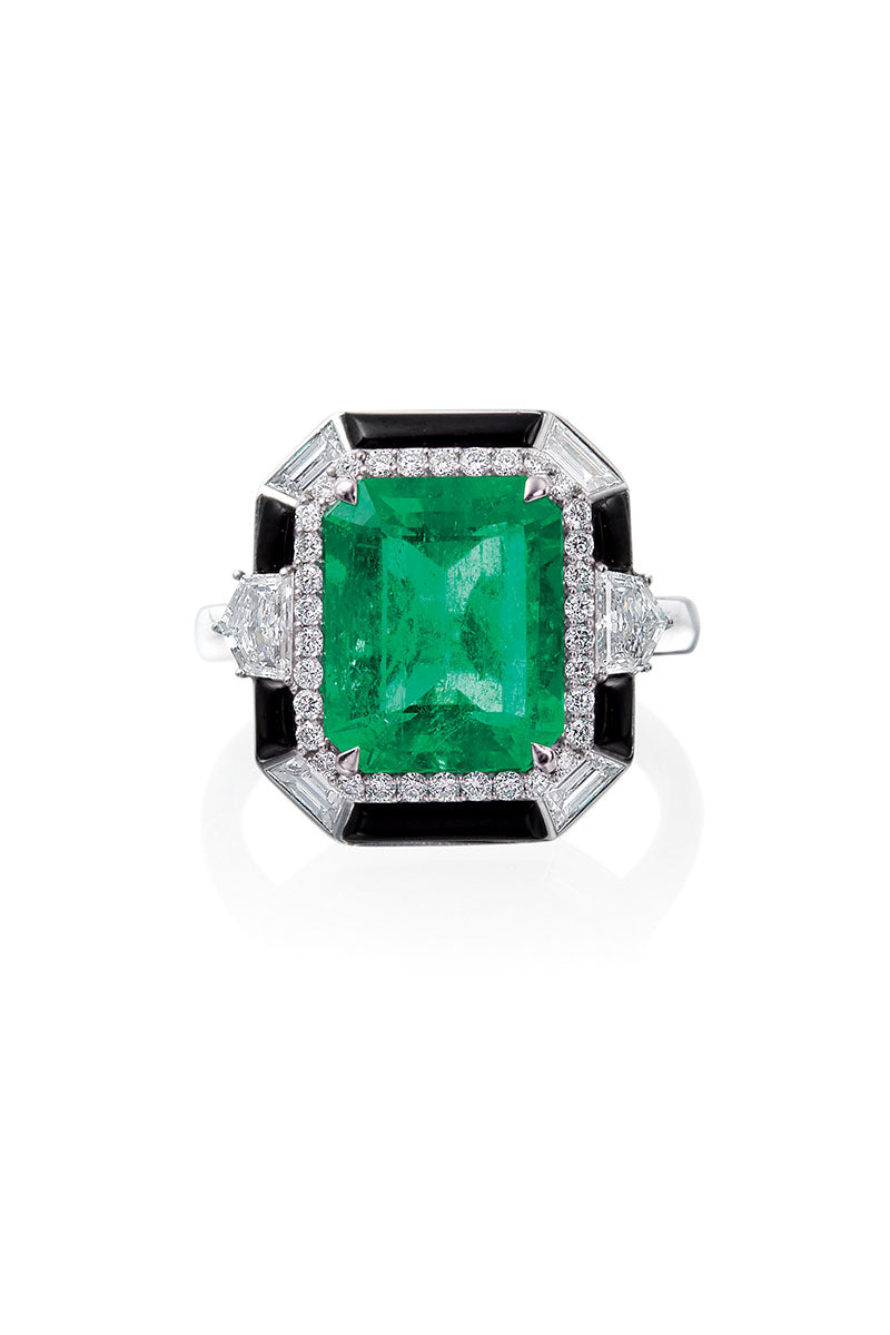 Boyds Essentials, 18kt White Gold Emerald, Black Onyx & Diamond Ring