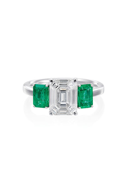 Boyds Essentials, Platinum Diamond & Emerald Ring