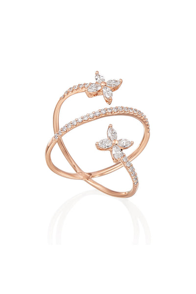Boyds Essentials, 18kt Rose Gold Diamond Cross Over Ring