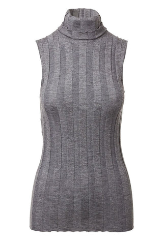 Ribbed Sleeveless Turtleneck