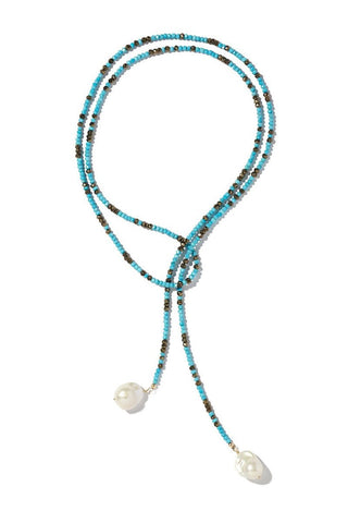 Joie DiGiovanni, Turquoise and Pyrite Ombre Classic Gemstone Lariat