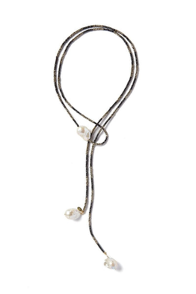 Joie DiGiovanni, Spinel and Pyrite Ombre Triple Pearl Classic Gemstone Lariat