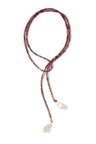 Joie DiGiovanni, Pink Tourmaline and Pyrite Ombre Classic Gemstone Lariat