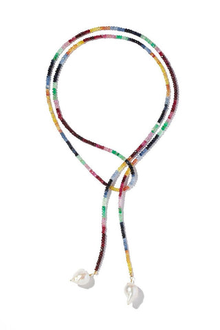 Joie DiGiovanni, Ruby, Emerald and Sapphire Classic Gemstone Lariat