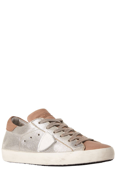, Paris Metallic Leather Sneakers