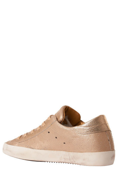 , Paris Gold Leather Sneakers