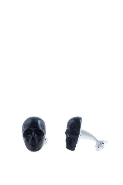 Skull of Self Control Obsidian Cufflinks