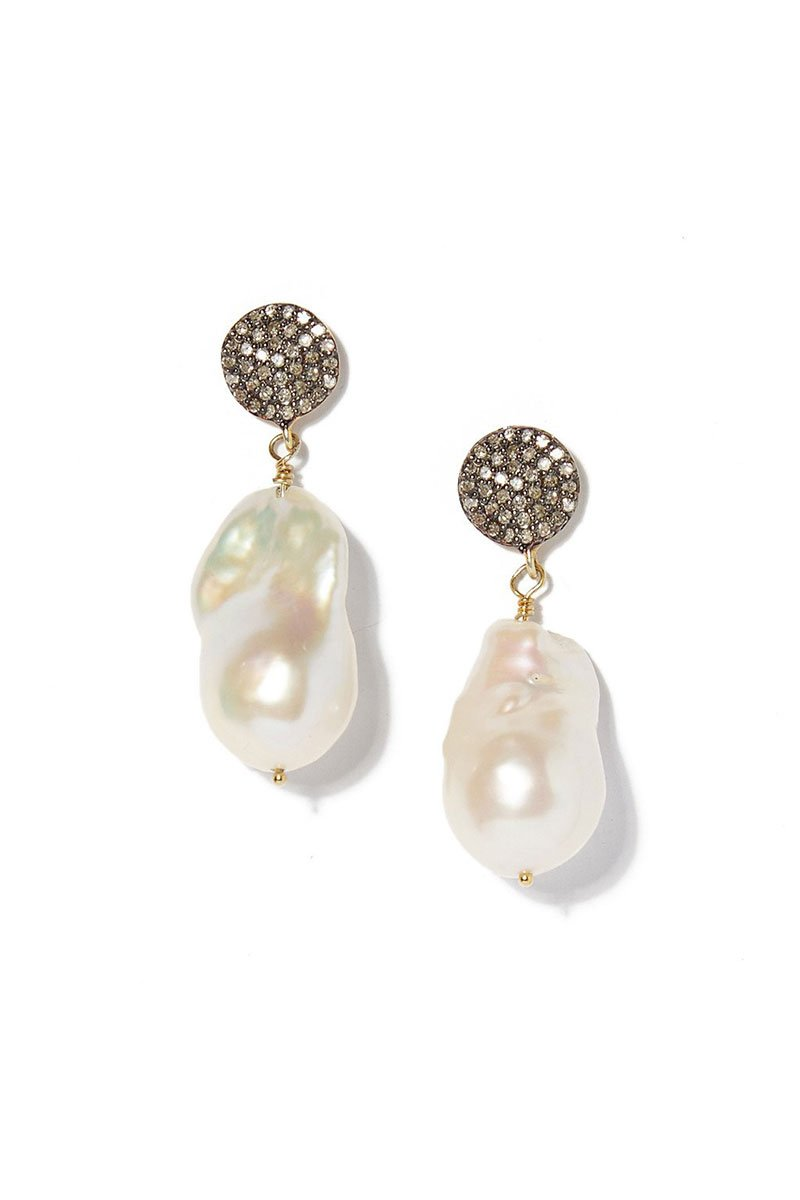 Joie DiGiovanni, Diamond Circle and Baroque Pearl Earrings