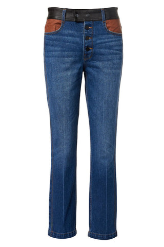 FRAME, Denim Leather Block Sylvie Jeans