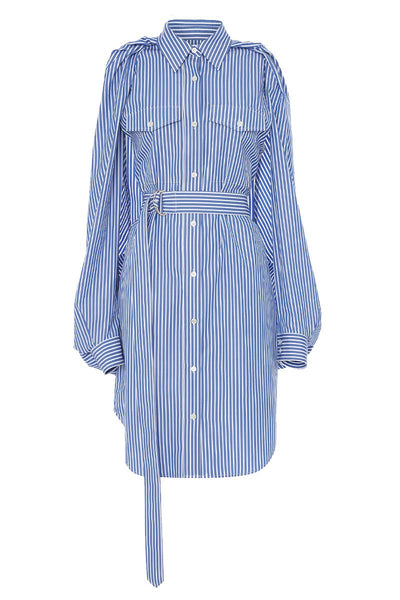 Split Sleeve Striped Shirt Dress