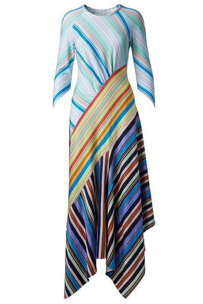 , Asymmetric Striped Maxi Dress