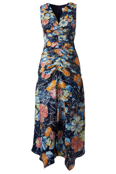 Peter Pilotto, Ruched Floral Maxi Dress