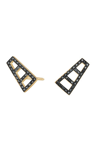 Black Diamond Ladder Stud Earrings