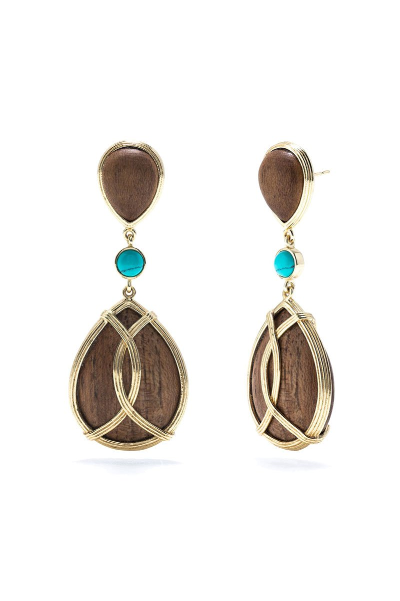 Capucine De Wulf, Monique Teak & Turquoise Drop Earrings