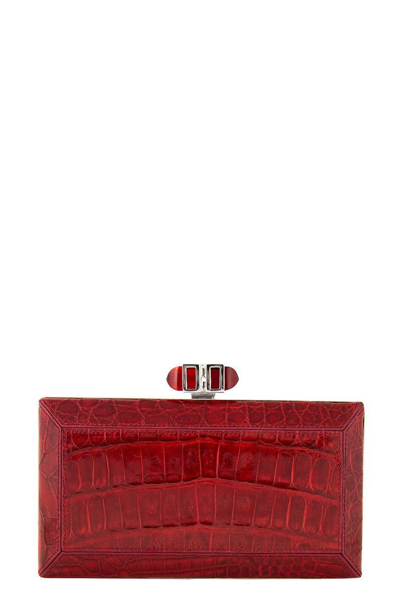Couture Croc Coffered Box Clutch