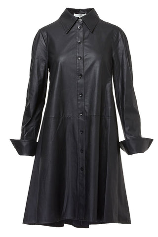 Tissue Faux Leather Shirt Dress