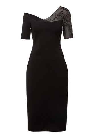 CUSHNIE, Lace Sleeve Pencil Dress