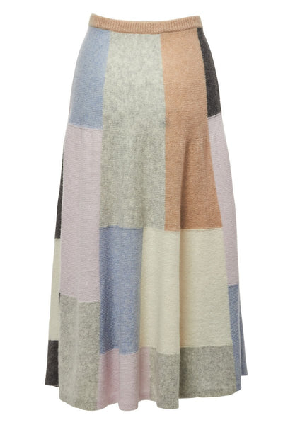 Brushed Cashmere Patchwork Skirt