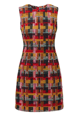 Multicolor Tweed Sheath Dress