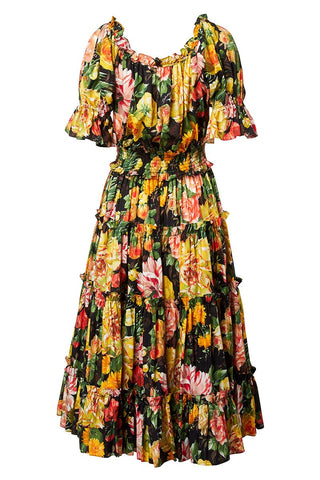 Mix Flowers Ruched Dress