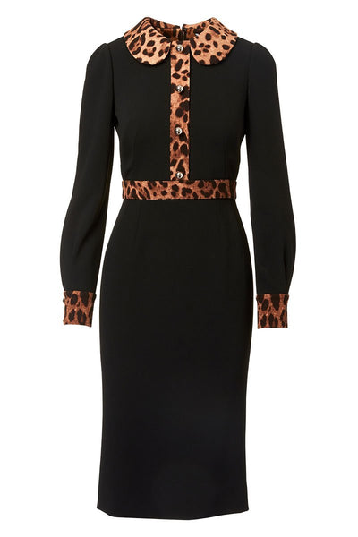 Dolce & Gabbana, Leopard Trim Shirt Dress