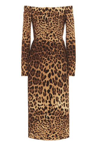 Dolce & Gabbana, Leopard Off-The-Shoulder Dress