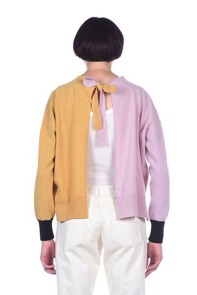 Colorblock Open Back Sweater